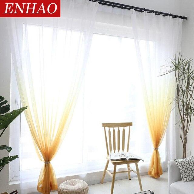 ENHAO Solido Tulle Tende per il Salone 3d Tende Da Cucina Moderna Tende Trasparenti per la Camera Da Letto Elegante Voile Tende per Porte