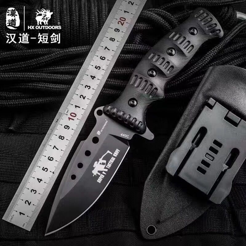 HX OUTDOORS 440C Tactical Straight Knife 3 Options K10 Handle Survival Outdoor Knives Utility Camping EDC Knife Tools With Kydex