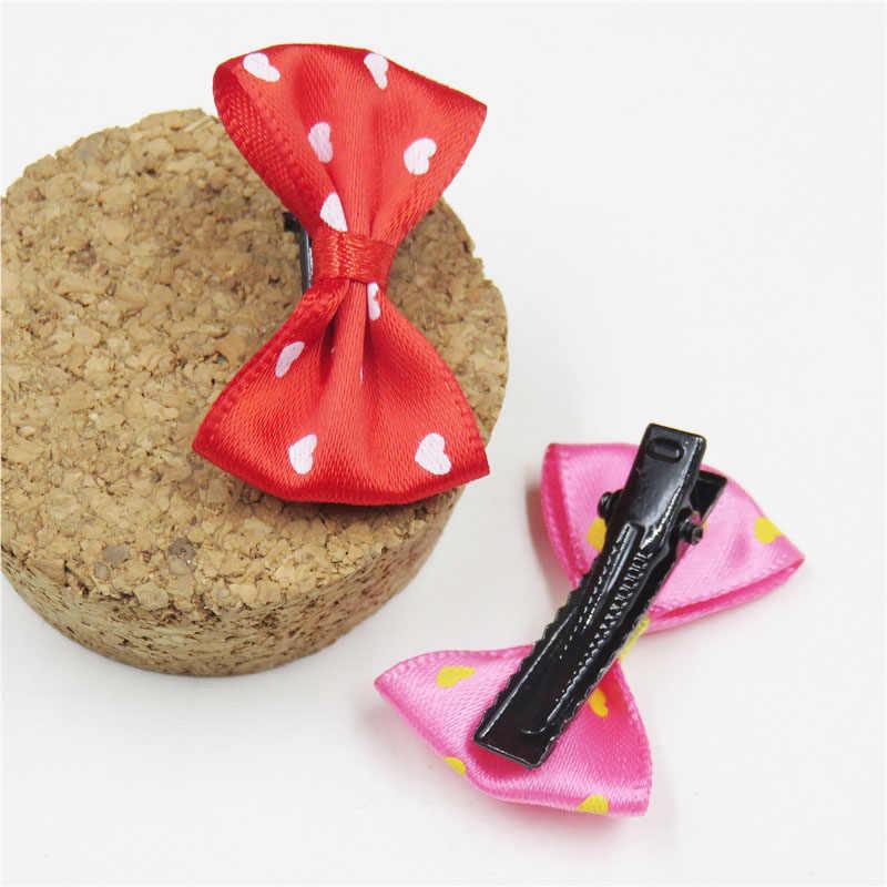 2 יח'\חבילה אהבה פוליאסטר פרפר קטן עבור בנות שיער עניבת ילד אלסטי להקות שיער פצפוץ קליפים שיער אביזרי עבור ילדים