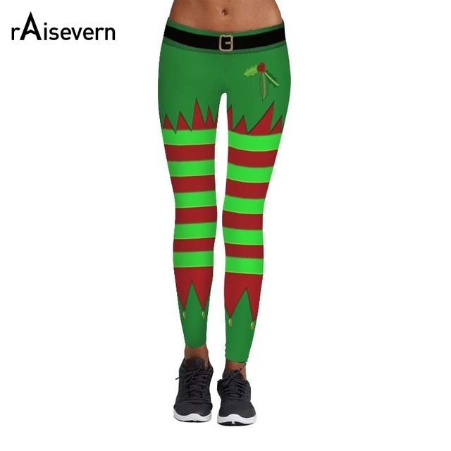 6df7298be1e29 2018 Raisevern Christmas Leggings 3D Printing Wide Stripe in Fluorescent  Green and Red Splicing Fitness Casual Women Legins