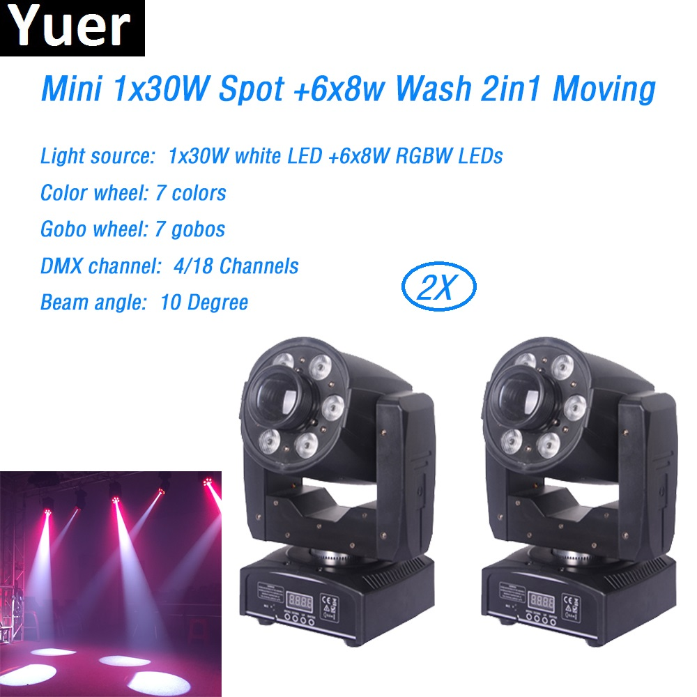 2Pcs/Lot Mini 1x30W LED Spot+6x8W RGBW Led Beam Wash Moving Head Light Color&Gobo wheel DJ Disco DMX Control Stage Lighting