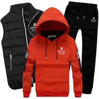 Комплект из 3 предметов спортивный костюм с капюшоном мужской спортивный костюм теплый жилет штаны Зимние Для мужчин брендовый комплект то