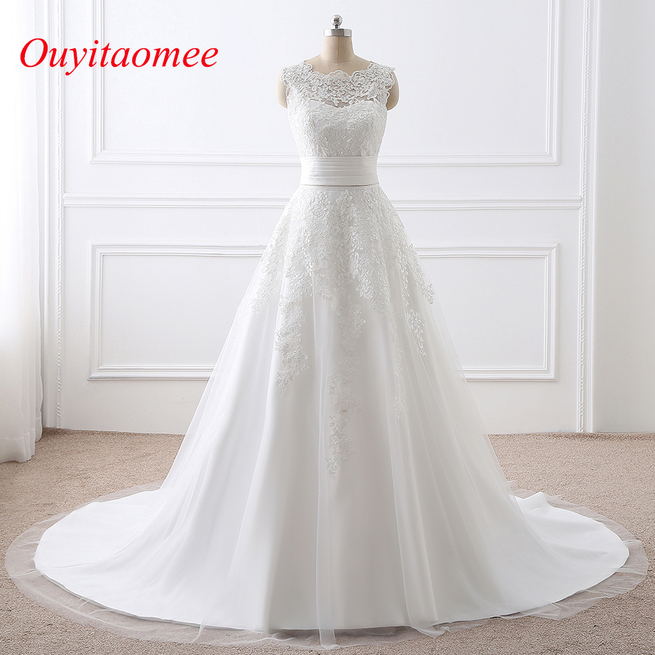 2018 New Detachable Train Wedding Dresses Scoop Neckline White A Line Two Pieces Bridal Dresses Lace Appliqued Wedding Gown