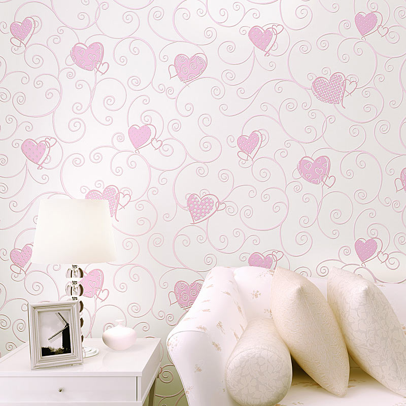 цены 3D Pink Love Heart Cartoon Princess Girl Room Background Wallpaper Roll 3D Embossed Flocking Non Woven Kids Wall Covering Paper
