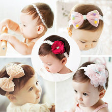 2018 korean Baby girls headband newborn fabric flowers for headbands DIY jewelry photographed photos Children hair accessories(China)