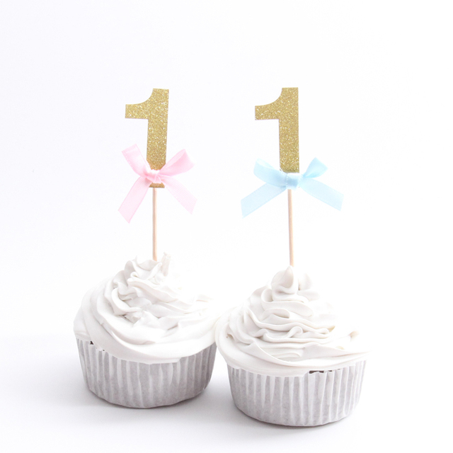 10PCS Happy First Birthday Cupcake Toppers 1st Baby Boy Girl