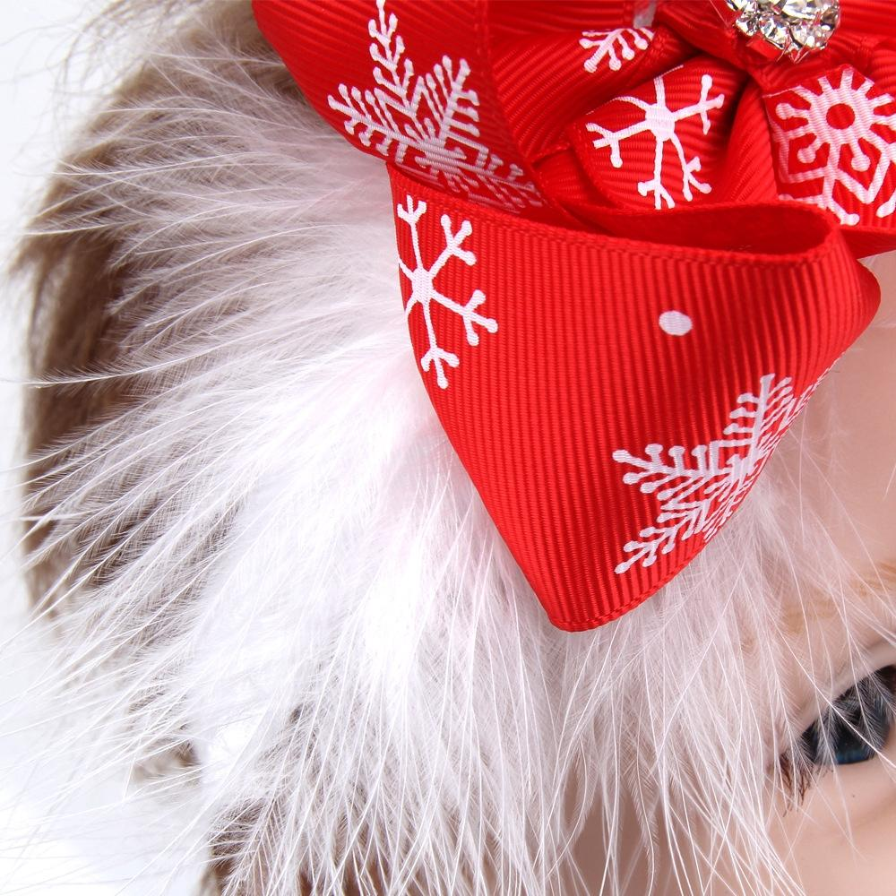 XIUFEN Kids Christmas Headband Creative Baby Girls Bowknot Feathers Snow Headdress Feathers Hair Band Accessories Red ZK30