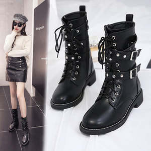 c65d5ebf3261 BJYL 2018 Punk Gothic Lace up Women Shoes Short Boots mujer
