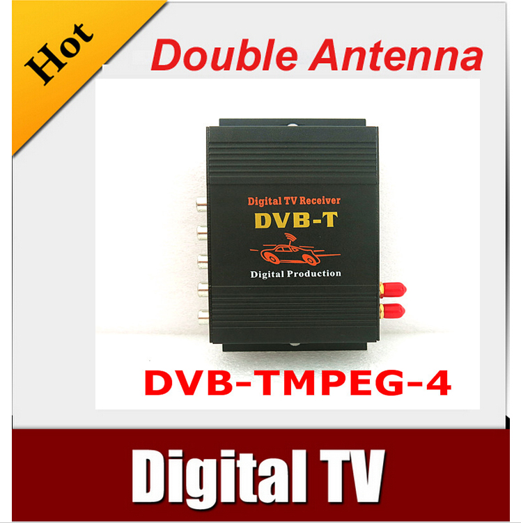 Car DVB-T MPEG-4 HD tuner Digital TV BOX receiver box with 2 tuner for European in car Free shipping tv031 brazil standard hd isdb t car digital receiver silver