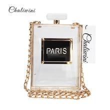 chaliwini casual negru acril parfum caseta de sticla pentru femei sacouri seara de moda a face pungă de sac de ambreiaj pungi de mână seara de mână seara