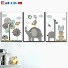 AFFLATUS Rabbit Giraffe Elephant Wall Art Canvas Painting Posters And Prints Animals Pictures Nordic Style Kids Decoration