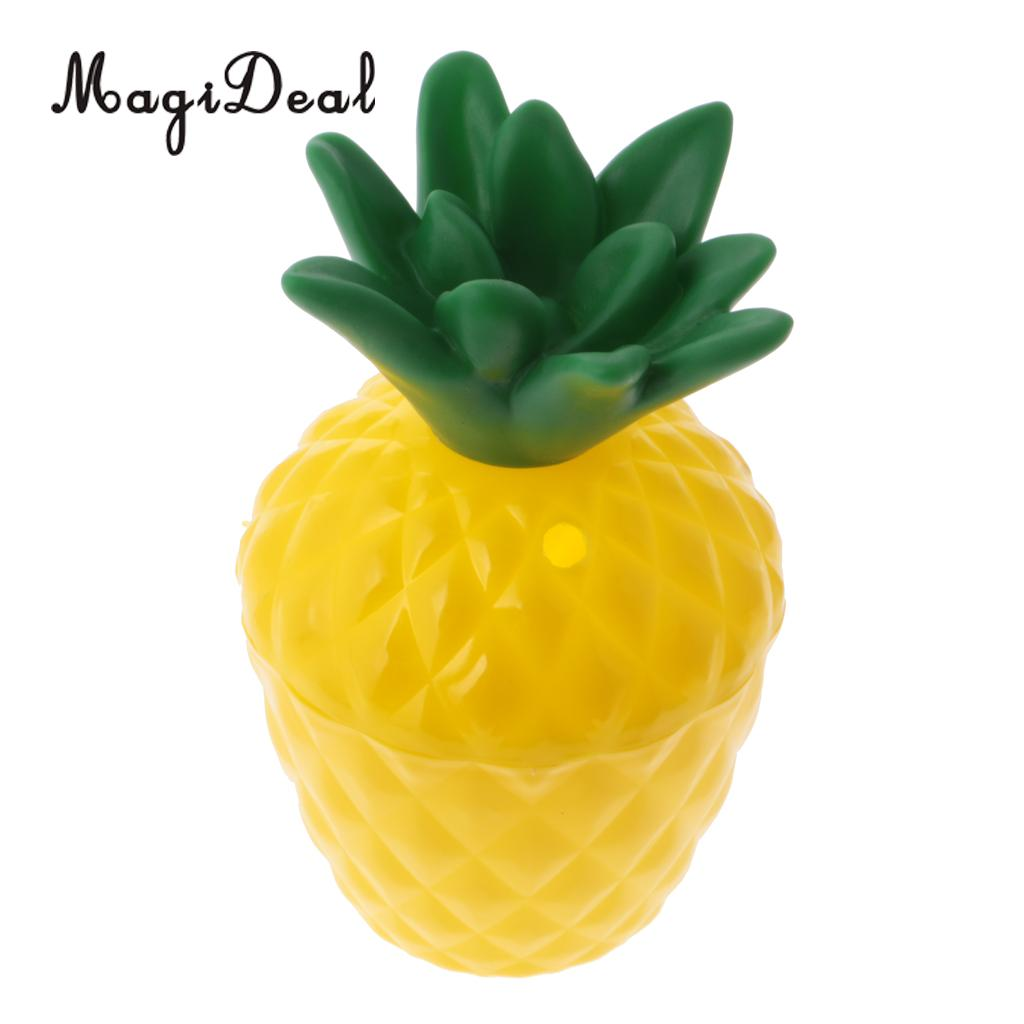 50x Plastic Fruit Pineapple Drink Cup & Straw Set for Hawaiian Tropical Party Table Decoration