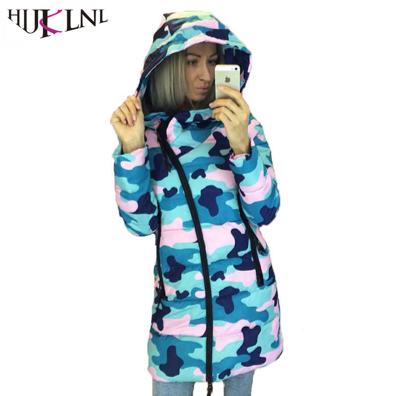HIJKLNL chaquetas mujer invierno 2017 Winter Woman Camouflage Hooded Jackets and Coats Femme Oblique Zipper Parkas