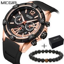 Megir luxury top brand Chronograph Quartz Watch for Man Men's Black blue Silicone band strap Sport Wristwatch Boy's Stopwatch