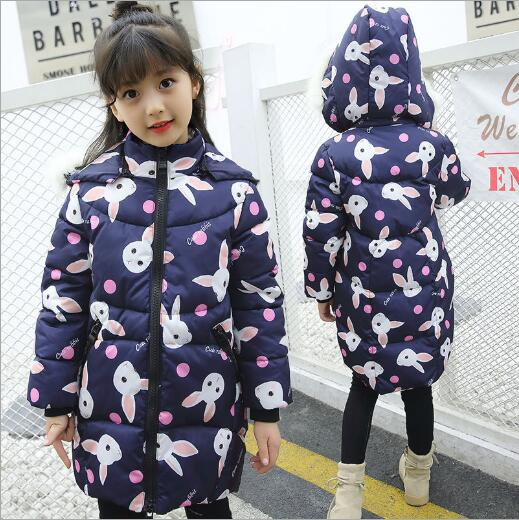 2018 New Down jacket for girl clothes rabbit print Long style teenage girls warm parka children's winter coat rabbit fur collar down the rabbit hole