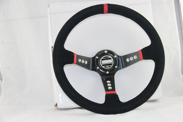 BLACK FRAME RED LINE Suede Leather  deep Corn Drifting Steering Wheel Suede Leather Deep Corn Drifting 14inch 350mm