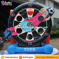 Hot sale 3X3X1M inflatable football shooting games for kids blow up soccer kick games for event football dart board outdoor toys