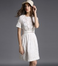 NIWIY Brand Dress Summer Style Kate Middleton Princess Dress Aliexpress uk 2017 Cotton Elegant Women Embroidered White Dress 730