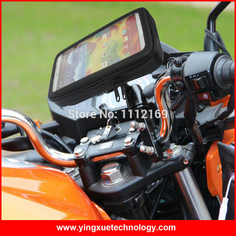 Smartphone GPS Bike Motorcycle Scooter <font><b>Handlebar</b></font> Mount Holder with Water Resistant Case for Samsung Note 4, S5, Meizu MX5