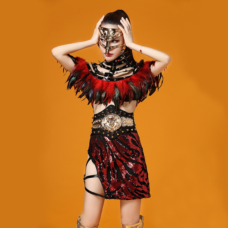 Unique Indian Style Black And Red Rivet Feather Party Nightclub Bar Concert DJ Singer/dancer Costumes