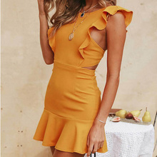 Sexy Ruffled Sleeveless Back Button Halter Dress Bandage Bodycon Solid O Neck Above-Knee Crop Empire Waist Dress Party Dresses v neck red bean pink colour above knee mini dress satin dress women wedding party bridesmaid dress back of bandage