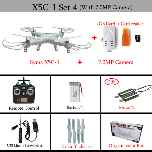 Syma X5C X5C-1 2.4G 4CH 6-Axis RC Helicopter Quadcopter Toys Ar. Drone With Camera or Syma x5 without Camera Can add FPV VS X5SW