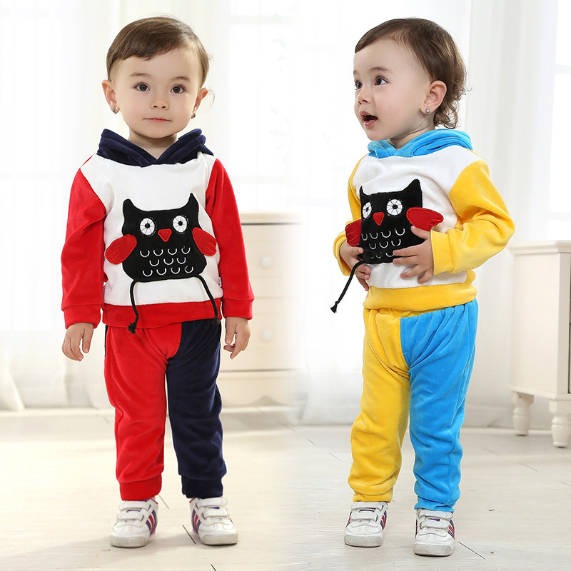 Anlencool Free shipping infant Valley high quality velvet suit owl models baby clothing new brand baby clothes sets boy clothing