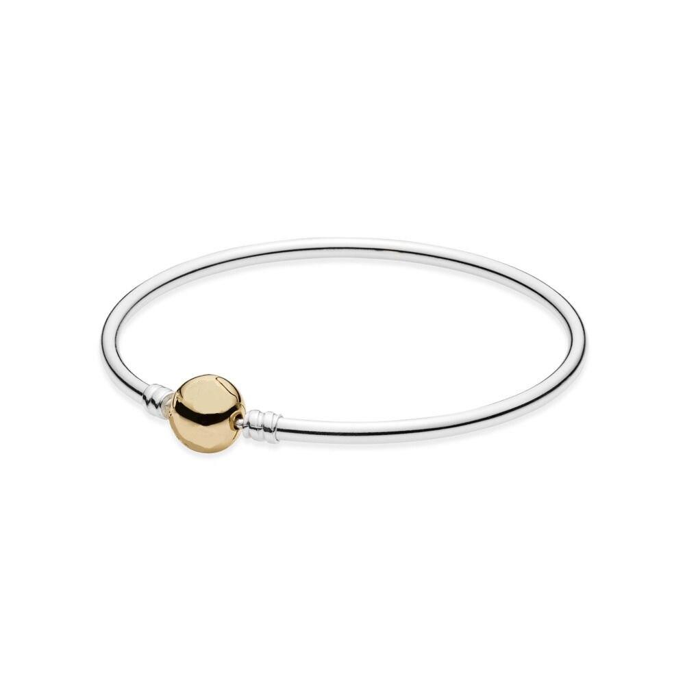 925 argent Sterling or couleur ronde boucle bracelets pour femmes bricolage bijoux à breloques GA031