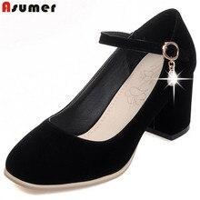 2020 ホット販売春秋の新女性ファッションフロックバックルスクエアトゥハイヒールのハイヒールの靴シンプル ASUMER
