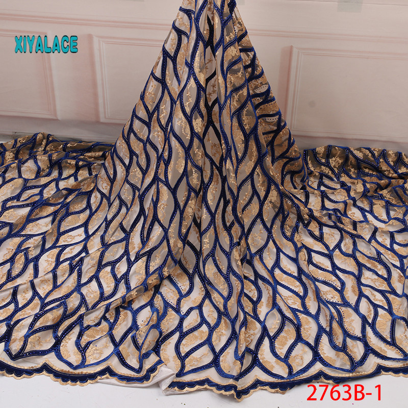 Sapphire African Velvet Lace Wedding Dress African French Mesh Lace Fabric 2019 High Quality French Lace With Stones YA2763B-1