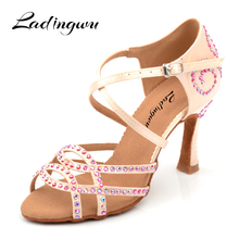 Ladingwu New upgrade Silk Satin Dance Shoes Latin Women Colored Rhinestones Ballroom Salsa Profession zapatos de muj