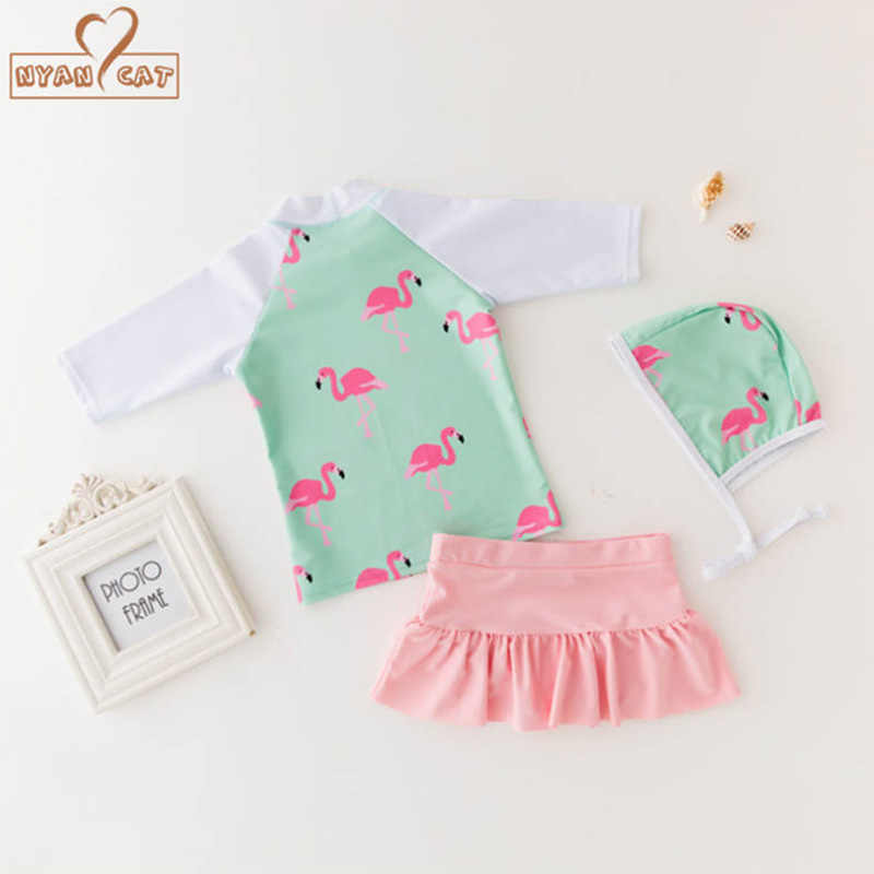 e62459adc9b58 Nyan cat Baby girls swimming suit summer flamingo top+skirt+hat 3pcs set  infant