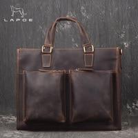 LAPOE Новый Для мужчин Портфели s из натуральной кожи сумки Винтаж ноутбука Портфели сумка сумки на ремне Для мужчин мешок