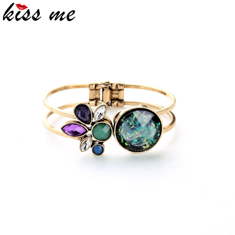 high end fashion retro alloy imitation gemstone cuff