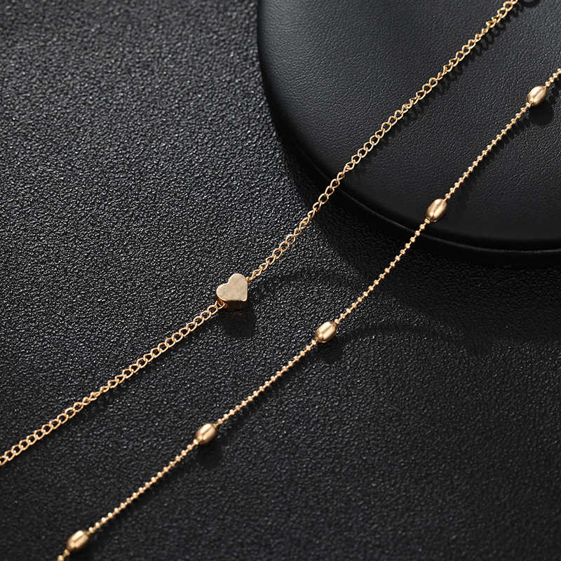 2019 juego de brazaletes minimalista oro plata Pequeño amor eslabón cadena pulseras para mujeres amistad amor encanto pulseras brazaletes Seashel