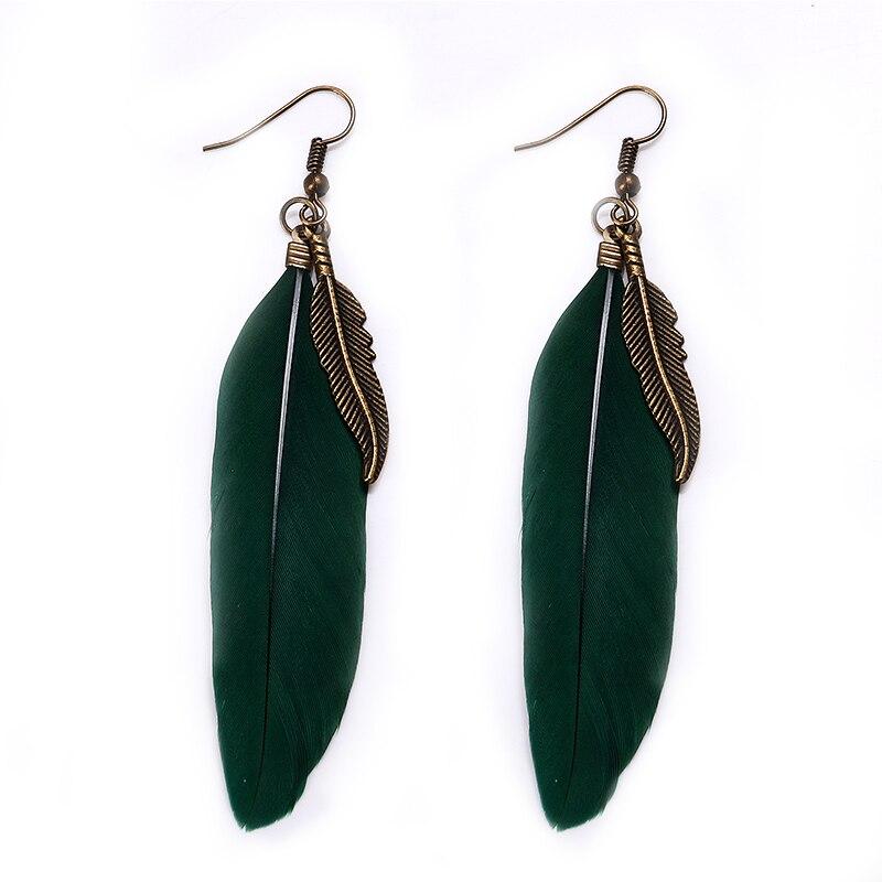 Long feather earrings handmade feather earrings elegant fashion woman retro style alloy women