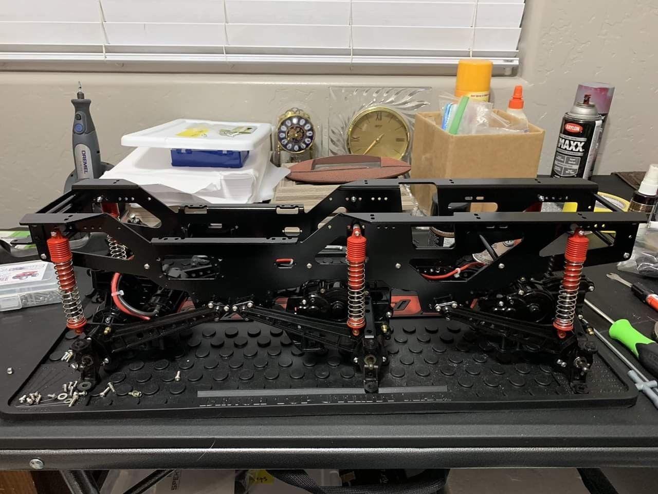 Amortiguadores de aleación de aluminio RC 1/10 con Kit de chasis para TAMIYA clodbumper/Bullhead 4*4 6*6 - 6