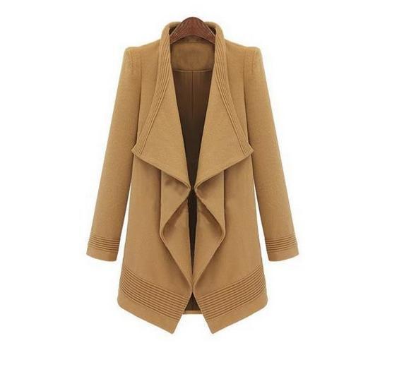 Aq135 elegante mujeres lana Abrigos larga da vuelta-abajo abrigo de lana  cardigan chal abrigo de lana del Cabo e96e02c85115