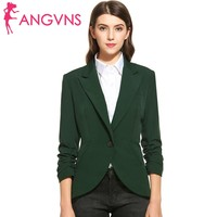 ANGVNS Women Blazers And Jackets Suit Ladies Casual Turn Down Collar 3 4 Sleeve Outerwear Wear