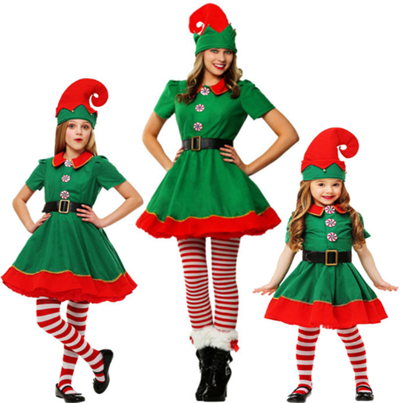 new high qualit Christmas green Mother Daughter dress parent-child Christmas elf cosplay clothing family Christmas tree costume