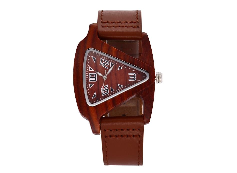 ALK leather strap female male wooden wristwatch 35