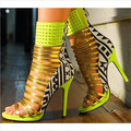 2015 New Arrivals Girl Contrast Color Rivets Ankle Wrap Sandals peep toe straps high heel sandals Big Size