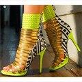 2015 New Arrivals Menina Contraste Cor Rebites Tornozelo Envoltório Sandálias peep toe sandálias de tiras de salto alto Tamanho Grande