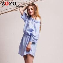 Falacs zozo 2016 Women Fashion Loose Blue Striped Shirt Dress Sexy Side Half Sleeve Waistband Casual Mini Asymmetrical Dresses