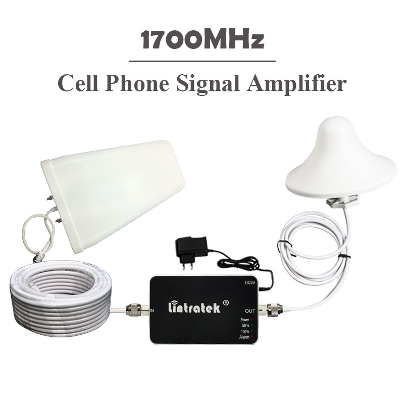 ФОТО Lintratek 1700MHz AWS Signal Booster 4G LTE 1700MHz/2100MHz Signal Amplifier for AWS Phones 65db ALC Signal Repeater Full Kits