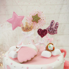 5pcs/lot Cake Topper Crown Star Love Heart Rabbit Flag Baby Shower Birthday Wedding Party Decor Sweety pink Flags