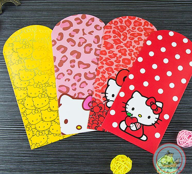 (100 Pcs/lot) New Year Birthday Wedding Housewarming Red Envelope Cartoon Hello Kitty Long Size Red Packets