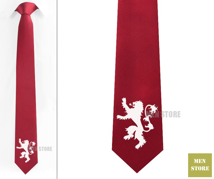 Lion Sigil Men Jacquard Woven Skinny Slim Necktie 6 cm Neckwear Wedding Party Groom Tie Cufflink LK003M