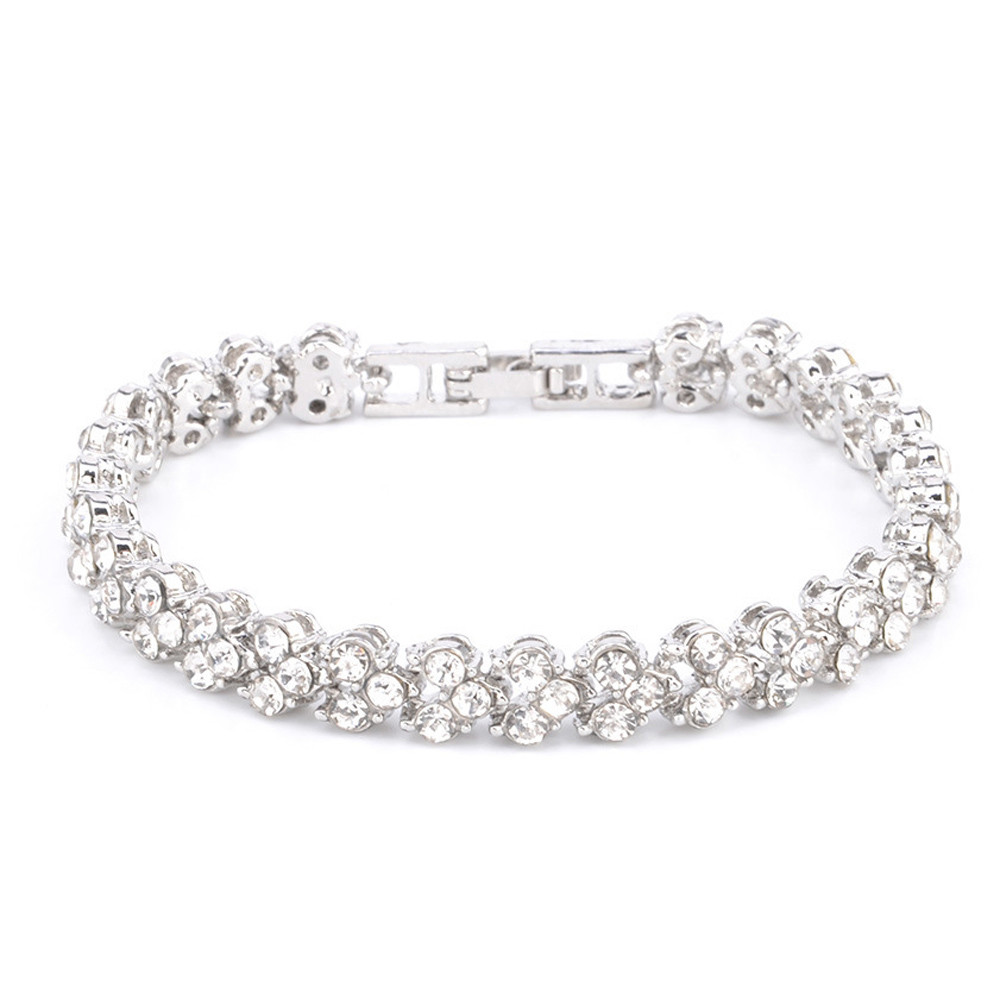 3 Colors Women Bracelets Fashion Roman Style Crystal Bracelets 925 Sterling Silver Bangles for Gifts Accessories