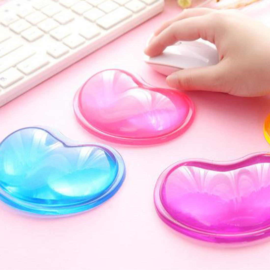 NOYOKERE Top Quality Heart Silicon Mouse Pad Clear Wristband Pad For Desktop Computer Mousepad Keyboard Support Helper